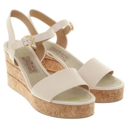 Salvatore Ferragamo Wedges in Creme
