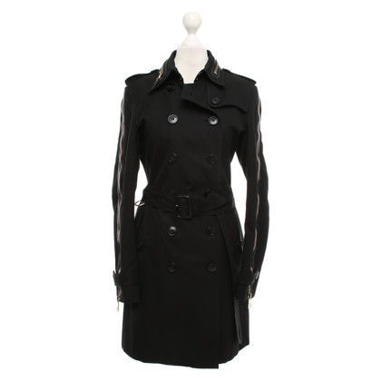 Burberry Prorsum Black trench coat with zippers