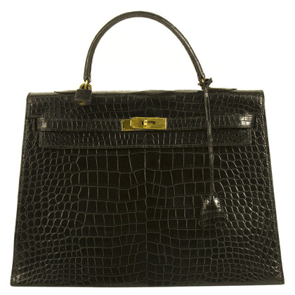Hermès Kelly 35 Black Crocodile Leather