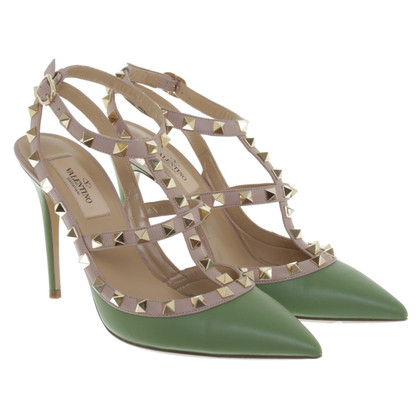Valentino Rockstud-pumps in green / beige