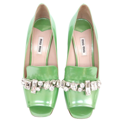 Miu Miu Peeptoes with rhinestones