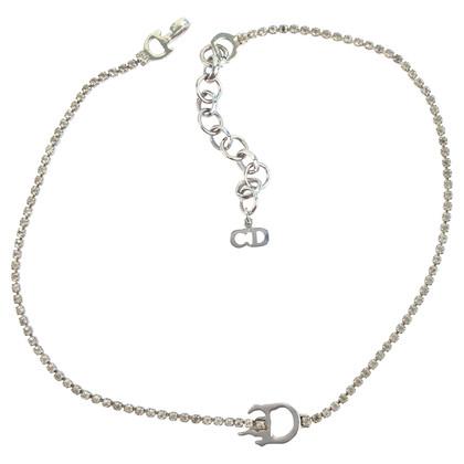 Christian Dior Silver tone rhinestone chain