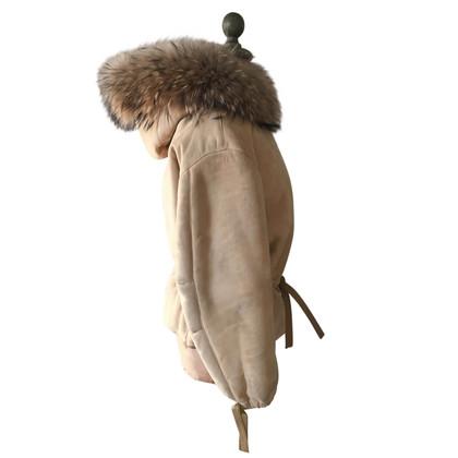 Christian Dior Giacca con cappuccio di pelliccia