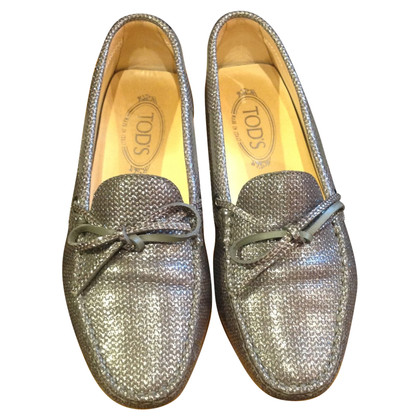 Tod's Silver-colored slippers