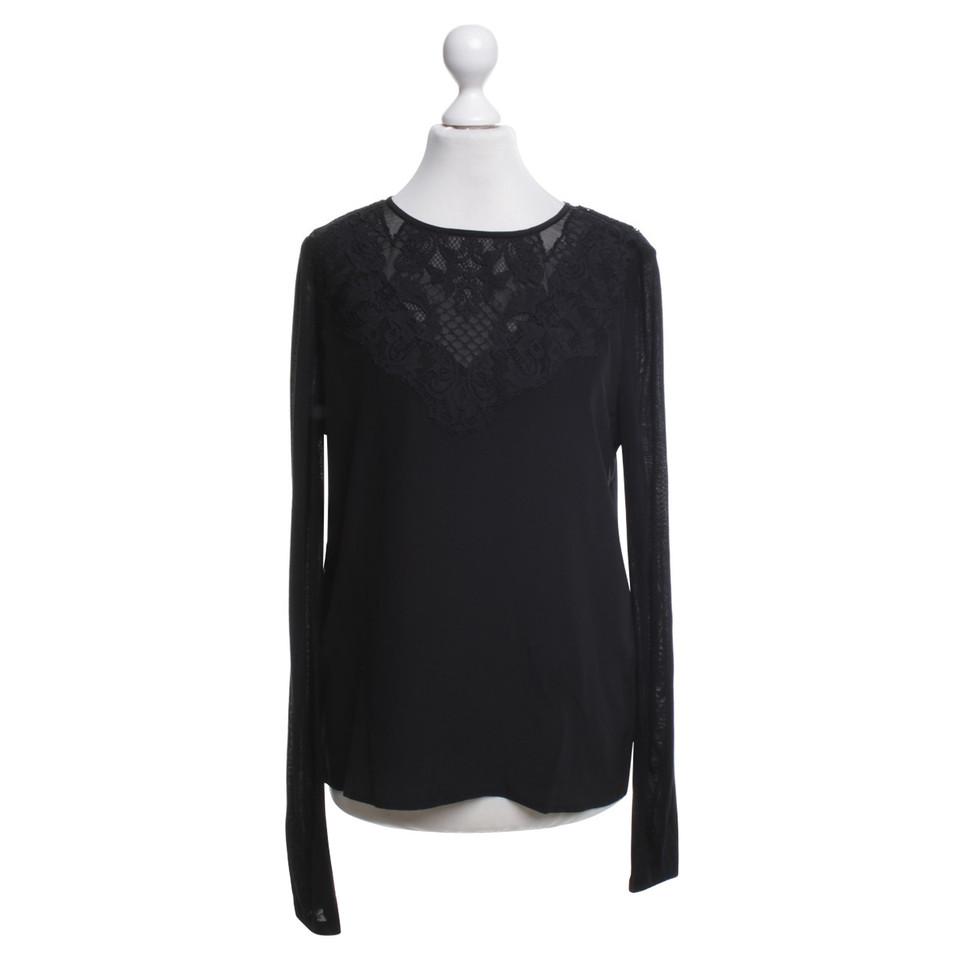 diane von furstenberg bluse in schwarz mit spitze second hand diane von furstenberg bluse in. Black Bedroom Furniture Sets. Home Design Ideas