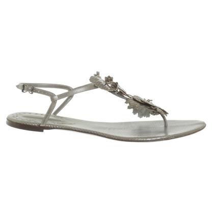 Bottega Veneta sandales en cuir de couleur argent
