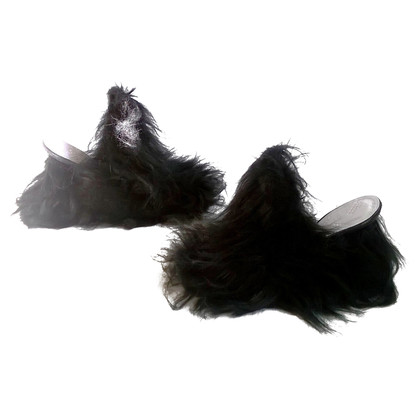 Maison Martin Margiela Mules with woven fur trim