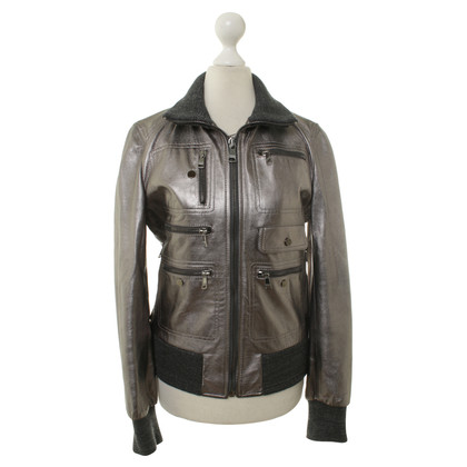 Dolce & Gabbana Leather jacket in silver