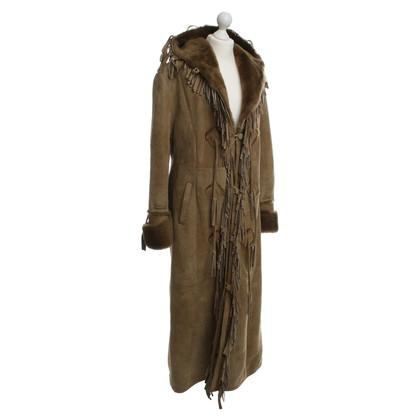 Dolce & Gabbana Lungo cappotto di pelle di pecora