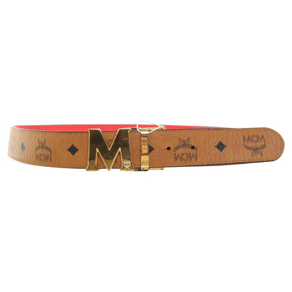 MCM Belt with logo pattern