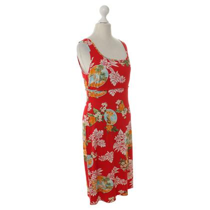 Piu & Piu Red summer dress with a colorful print