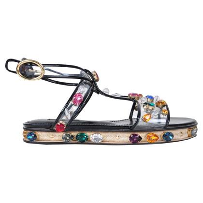 Dolce & Gabbana RUNWAY strass sandalen zwart