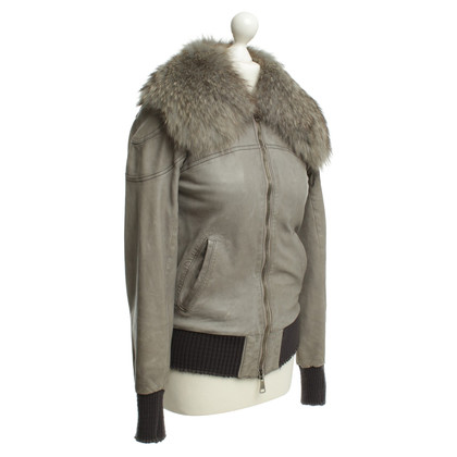 Giorgio Brato Grey-blue leather jacket with real fur collar