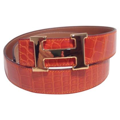 Hermès riem gemaakt van krokodillenleer