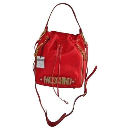 Moschino Medium Nylon Bucket Bag Red