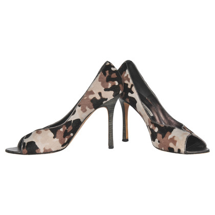 Manolo Blahnik Peep-toes with Pony fur