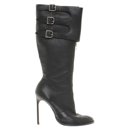 Manolo Blahnik Leather boots with decorative bar