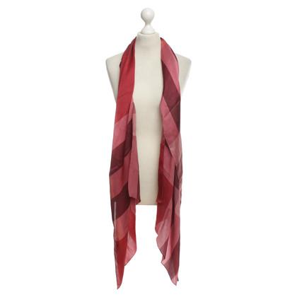 Burberry sciarpa di raso fantasia in rosso