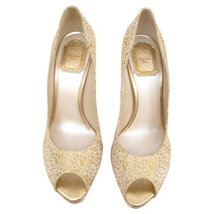 Christian Dior Peep-dita dei piedi me broccato