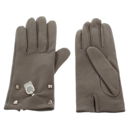 Hermès Leather gloves in grey