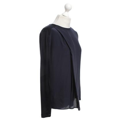Windsor camicia di seta in blu