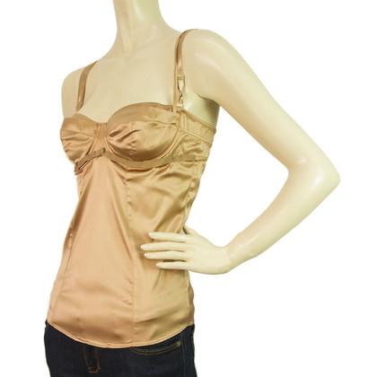 Dolce & Gabbana D & G Bronze Silk bustier Top sz L