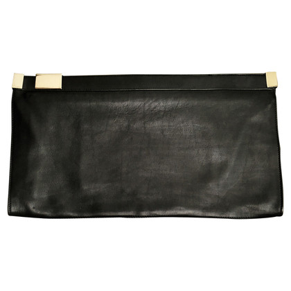 Maison Martin Margiela Large leather clutch with silver zipper