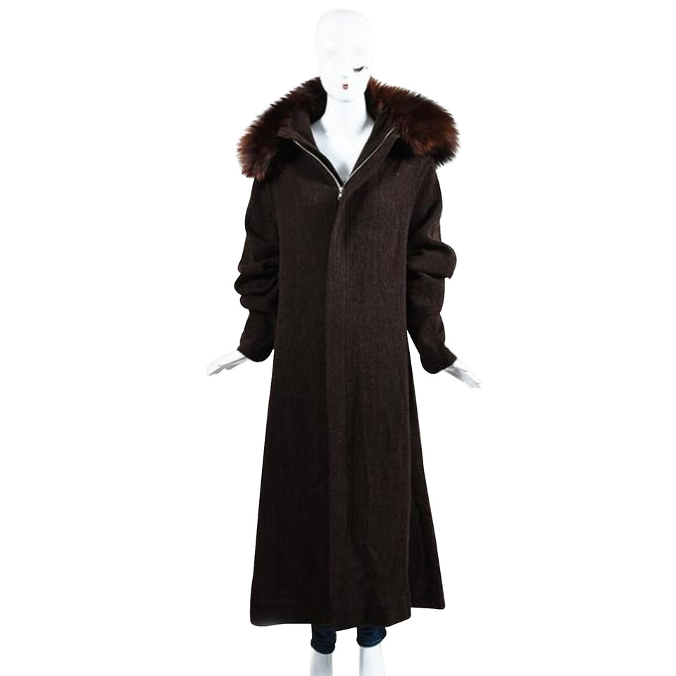 yohji yamamoto vintage mantel mit pelzkragen second hand. Black Bedroom Furniture Sets. Home Design Ideas