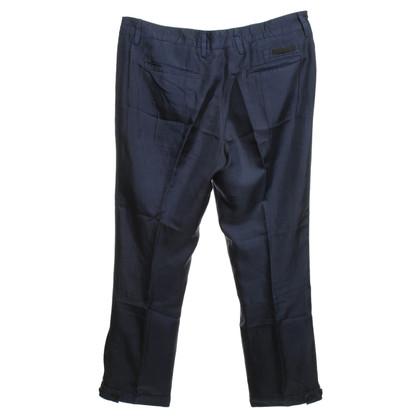 Prada pantaloni di seta in blu scuro