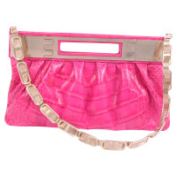 Versace Leather clutch in reptile look