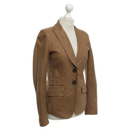 René Lezard Leather Blazer in light brown