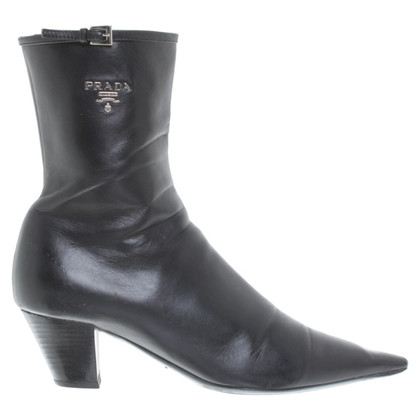 Prada Leather ankle boots in black