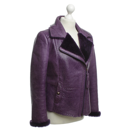 Escada Leather jacket with faux fur trim