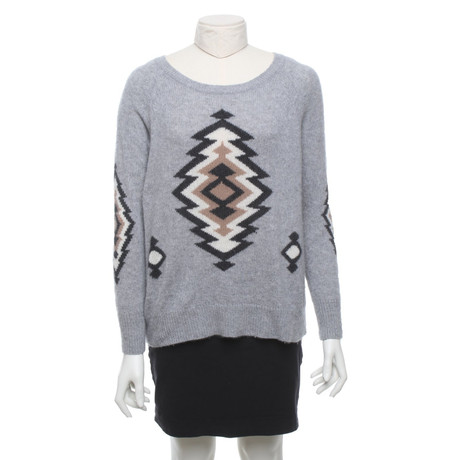 360 Sweater Pullover mit Strickmuster Grau