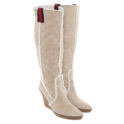 Gucci Suède boots in beige