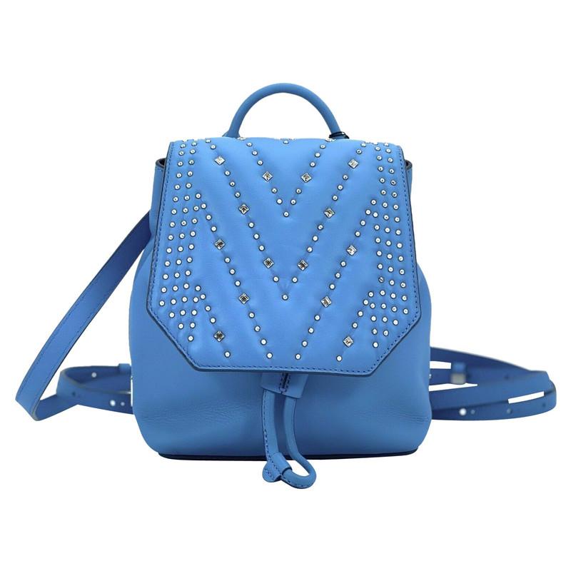 Mcm Rucksack aus Leder in Blau Second Hand Mcm Rucksack