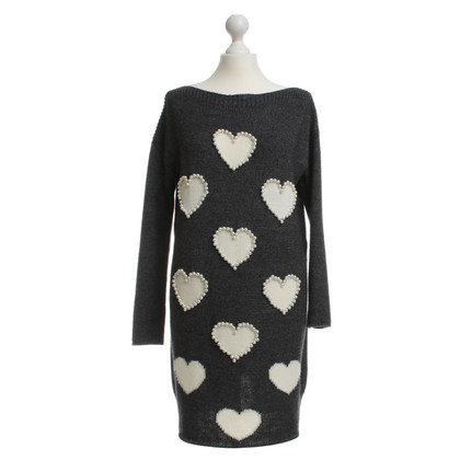 Twin-Set Simona Barbieri Long knit sweater with heart