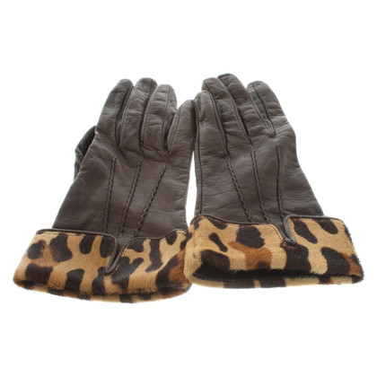 Prada Guanti in pelle con stampa leopardo
