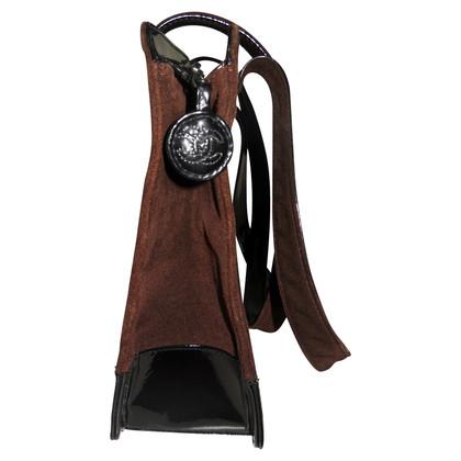 Chanel dark brown suede / Black patent leather bag