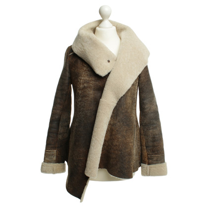 Patrizia Pepe Lambskin jacket in Brown