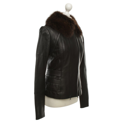 Narciso Rodriguez Leather jacket with real fur collar