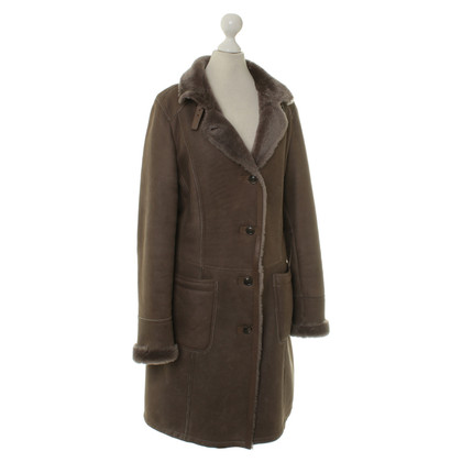 Mabrun Leather coat with fur