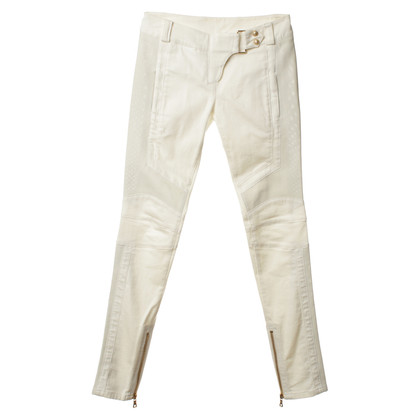 Balmain Jeans in cream with leather inserts