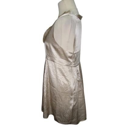 Schumacher gold silk laser cut dress