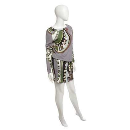 Emilio Pucci Patterned dress in grey / brown / green