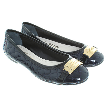 John Galliano Patent leather ballerinas in dark blue and black