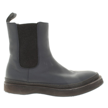 Brunello Cucinelli Chelsea boots in navy blue