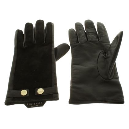 Ted Baker Leren handschoenen in zwart