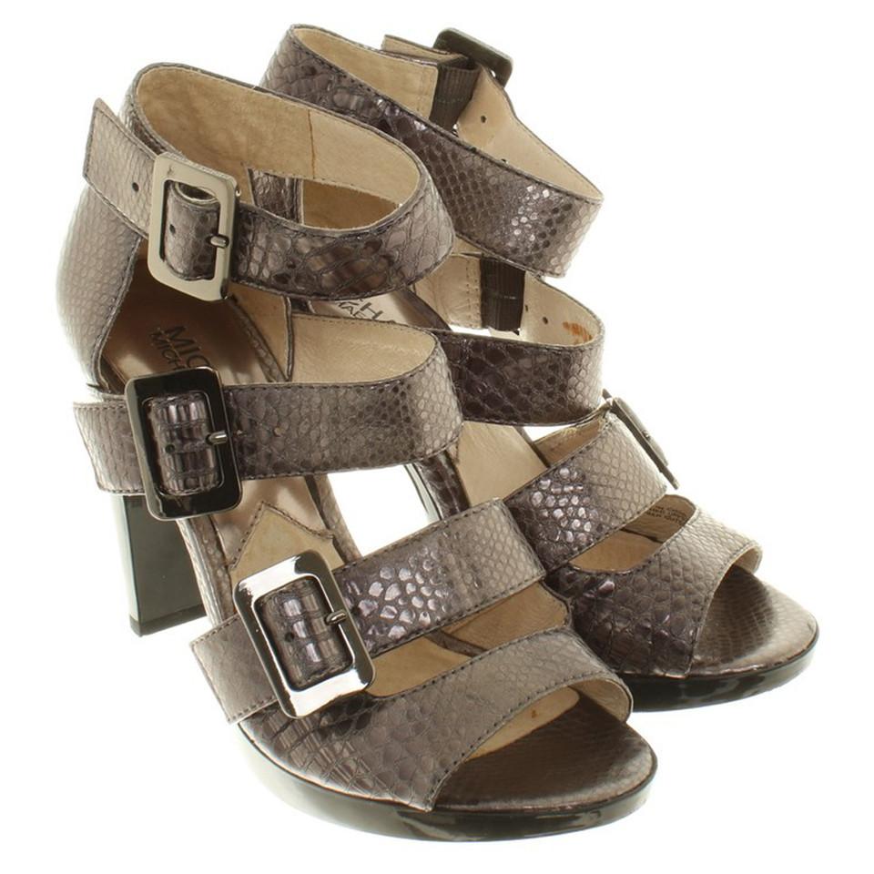 michael kors sandaletten im metallic look second hand michael kors sandaletten im metallic. Black Bedroom Furniture Sets. Home Design Ideas