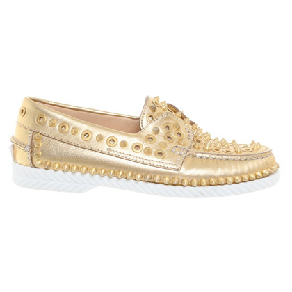 Christian Louboutin Golden slipper met klinknagels